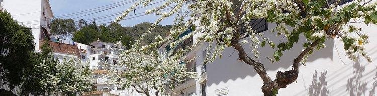 hoofdstraat in El Borge naar dorphuis Andalusië